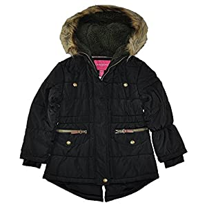 London Fog Little Girls' Puffer Jacket Winter Coat with Rouched Waist, Black, 4