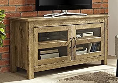 "WE Furniture 44"" Wood TV Media Stand Storage Console - Barnwood"