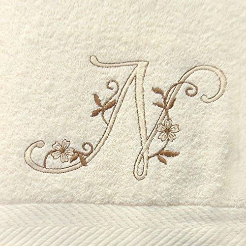 Juego de 3 Toallas beije(100x150, 50x100, 50x30) Letras Iniciales Bordadas, 100% algodón, Fabricado en CEE.: Amazon.es: Hogar