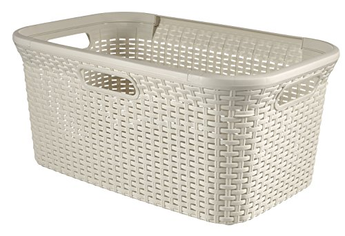 Curver 708 Off White Faux Rattan Laundry & Washing Basket 45L