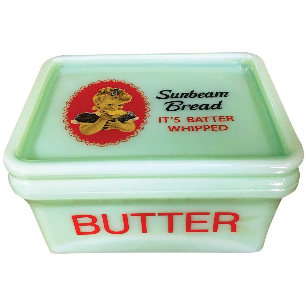 Sunbeam Bread Girl Jadeite 5 Inch Collectible Refrigerator Butter Box w//Lid