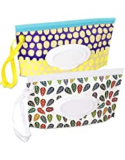 2 Pack Baby Wipe Pouch, Portable Wet Wipe Holder Container,Reusable and Refillable Travel Wet Wipes Dispenser Case