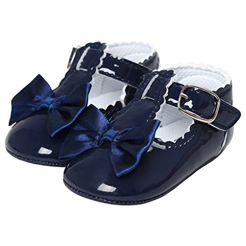 Elegant Girl (LINKEY Baby Girl Elegant Patent-Leather Velcro Buckle T-Strap Church Shoes With Bowknot Blue Size M)