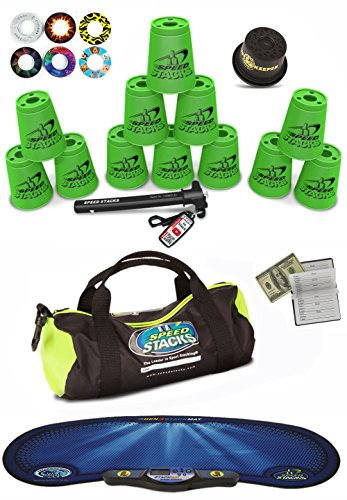 Speed Stacks Custom Combo Set - The Works: 12 NEON PINK Cups, Cup Keeper, Quick Release Stem, Pro Timer, Gen3 Mat, 6 Snap Tops & Gear Bag