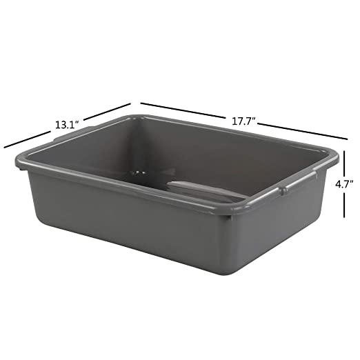 Gray Bus Tubs//Bus Box Lesbin 3-Pack 13 Liter Plastic Commercial Tote Box