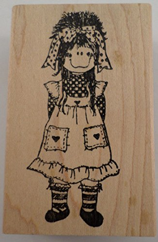 Wood Cellar Graphics 1991 P1102 Little Girl Rag Doll Wooden Rubber Stamp