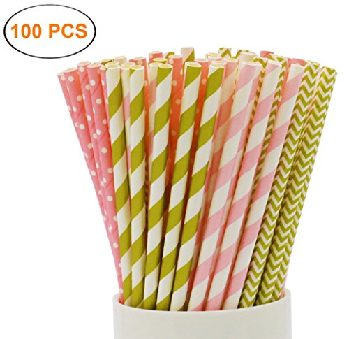 SOOKOO 100 Pack Gold and Pink Stripe, Chevron and Dot Biodegradable Paper Straws for Birthdays, Weddings, Baby Showers, Celebrations and Parties (Bulk Contact Paper)