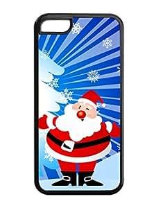 Iphone 5C Case,Snowflake Christmas Wink Santa Grandpa Iphone 5C TPU Silicone Cases