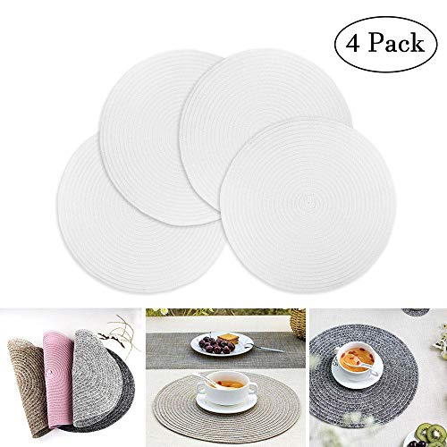 AOLVO Round Placemats Set of 4 Braided Place Mats for Dining Table - Washable PVC Woven Table Mats - Heat Insulation & Anti-Slip White