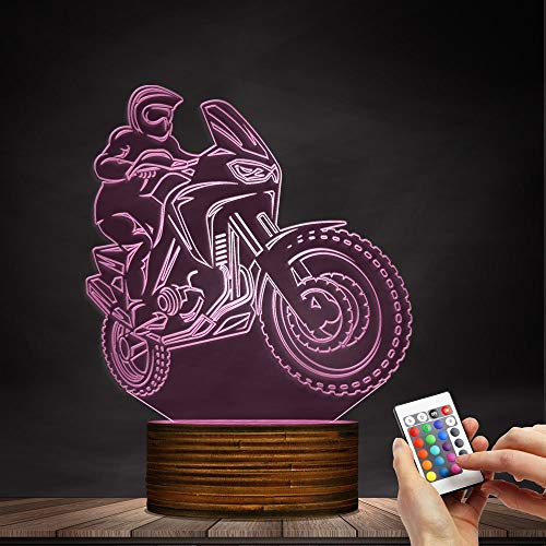Novelty Lamp, 3D LED Lamp Optical Illusion Motorcyclist Night Light, USB Powered Remote Control Changes The Color of The Light Birthday Gift Decoration Baby Boy Girl Child,Ambient Light by LIX-XYD (Image #7)