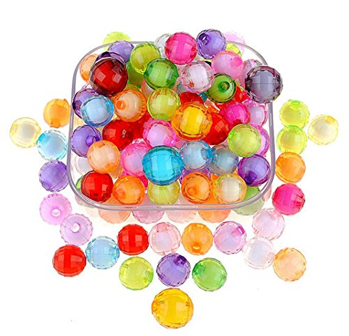 240Pcs 10mm Multicolor Faceted Acrylic Round Loose Beads for Children Necklace Bracelet Crafts DIY ()
