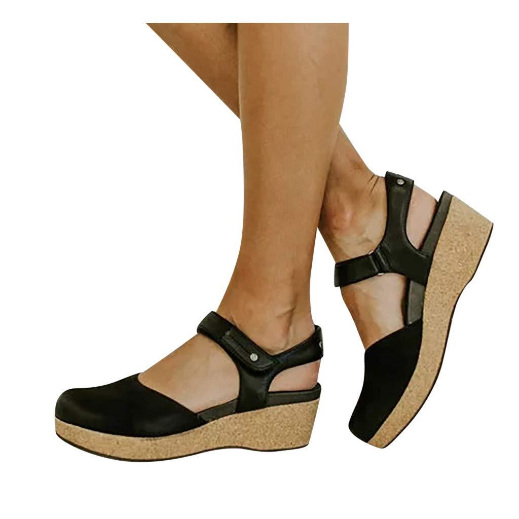 Sanyyanlsy Women Retro Hook & Loop Mary Jane Shoes Wedge Closed Toe Paltform Sandals Rivet Ankle Strap Mid Heel Sandals Black by Sanyyanlsy