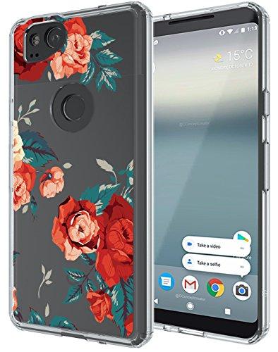 Google Pixel 2 Case, SWODERS Flower Clear Design Shock Absorbing TPU + Hard PC Bumper Case For Google Pixel 2 - Red