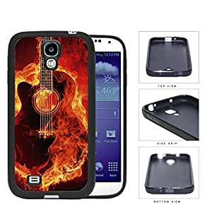 Acoustic Guitar Burning With Fire Flames Rubber Silicone TPU Cell Phone Case Samsung Galaxy S4 SIV I9500