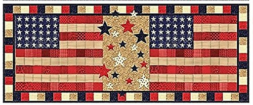 Stars & Stripes Table Runner QUILT KIT - Quilt Pattern + Moda Patriotic Sew American Fabric + BONUS !