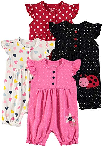 Wan-A-Beez Baby Girls' 2 Pack Embroidered Sleeveless Romper (Daisy/Ladybug - 4 Pack, 6-9 Months)