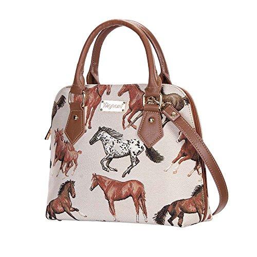 Handbag Women Top Tapestry Bag Bag Handle RHOR with CONV Running Horse White Cross Horses Signare Shoulder Body z5qFIEnq