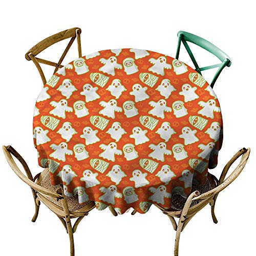 LsWOW 54 Inch Floral Round Tablecloth Burnt Orange Funny Halloween Ghost Great for Holiday & More ()