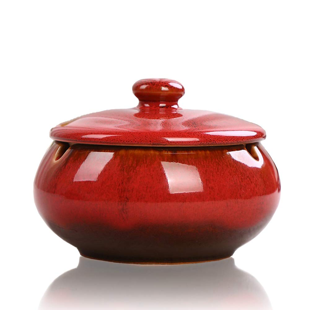Personnalit/é cr/éative cendrier r/étro Cendrier en c/éramique avec Couvercle Beige