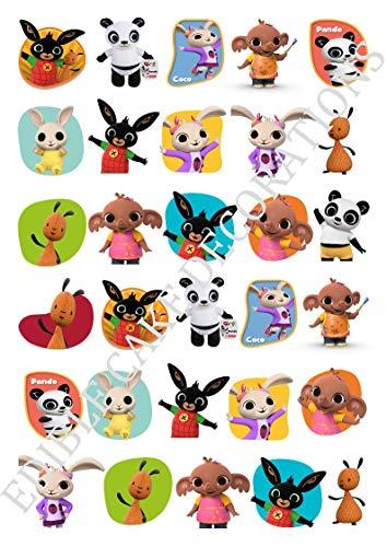 30 x Bing Bunny STAND UP Eetbaar papier Cupcake Toppers Cake Decoraties