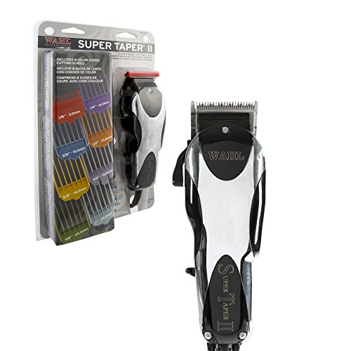 Wahl Professional Super Taper II Hair Clipper #8470-500 – Ultra-Powerful Full Size Clipper – V5000 Electromagnetic Motor – Includes 8 Attachment Combs ()