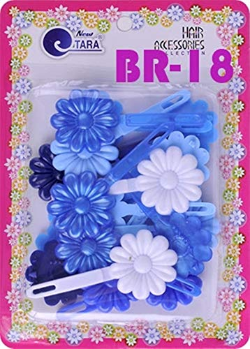 - Tara Girls Self Hinge Plastic Flower Hair Barrettes 18 Pieces Selection (Blue Mix)