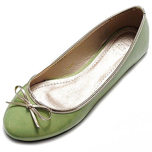 Ollio Womens Ballet Chaussure Joli Émail Ruban Accent Multi Couleur Plat Vert