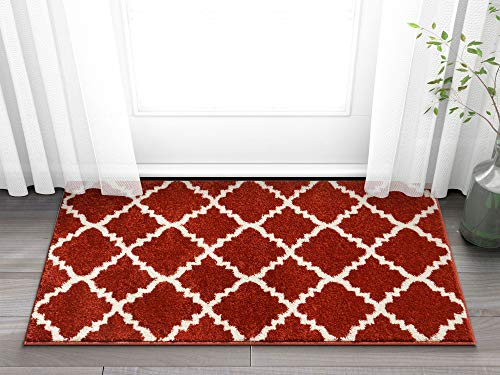 - Harbor Trellis Red Quatrefoil Geometric Modern Casual 2x4 (2'3