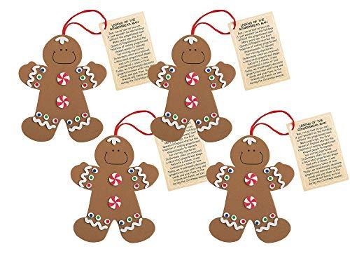 Gingerbread Man Christmas Ornament Kits, Set of 24 Christmas Crafts for Kids