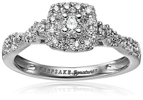 Keepsake Signature 14k White Gold Diamond Halo Vintage En...