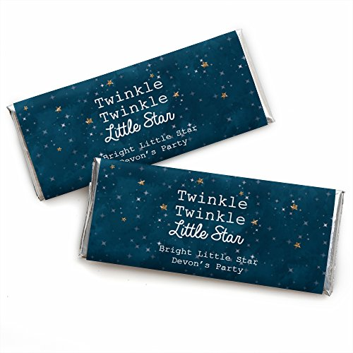 (Custom Twinkle Twinkle Little Star - Personalized Baby Shower or Birthday Party Favors Candy Bar Wrappers - Set of)