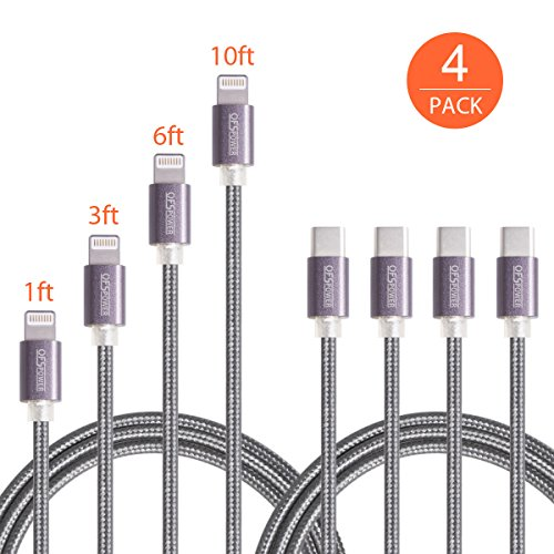 USB C to Lightning Cable, Ofspower 4 Pack Nylon Braided USB Type C to 8 Pin Syncing Charging Cord for iPhone X/8/7 (1ft 3ft 6ft 10ft) by OfsPower