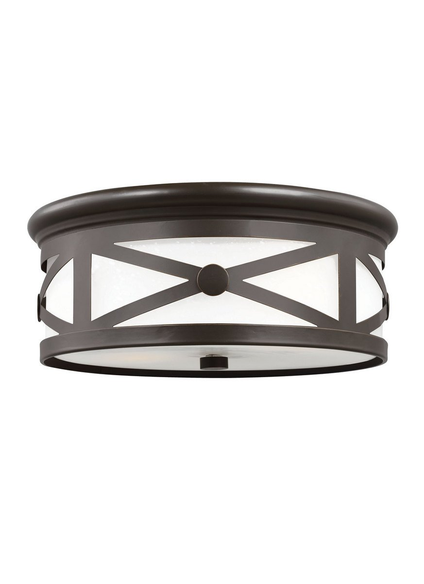 Sea Gull 7821452-71 Lakeview Outdoor Ceiling Flush Mount, 2-Light 120 Total Watts, Antique Bronze