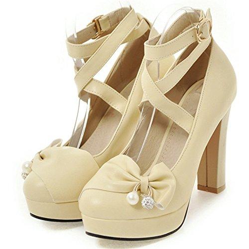 VIVIOO Tacón Alto Zapatos De La PU Mujer Zapatos De Fiesta Señora De La Oficina Poco Profundo Sólido De Tacón Alto 10 Cm Mujeres De La Moda Bombas Grandes Beige