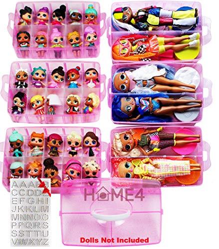 HOME4 No BPA 60 Compartimentos ajustables 6 capas Organizador de contenedores de almacenamiento apilable Estuche de exhibición de transporte, Compatible con juguetes pequeños LOL, Shopkins, OMG Barbie (Muñecas no incluidas) (Rosa)