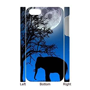 3D [elephant design] elephant tree moon night For Ipod Touch 5 Case Cover {White}