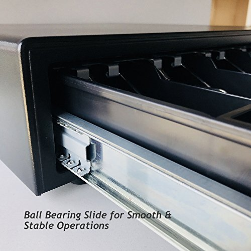 16'' POS Cash Drawer Stainless Steel Front,Removable Tray,5Bill/5Coin,RJ11 Cable Included,Key Lock,Black,BK1616B - Beelta by Beelta (Image #2)
