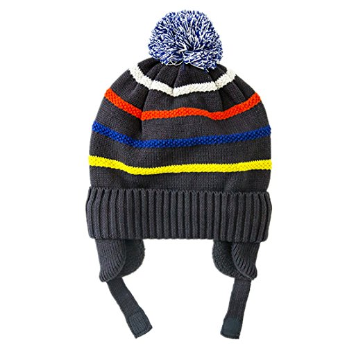 Striped Beanie Cap - Connectyle Toddler Boys Kids Warm Knit Winter Hats Pom Pom Striped Cuff Beanie Hat with Earflap, S 15.7
