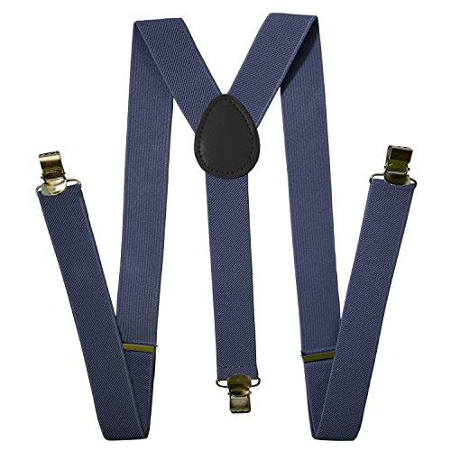 Suspenders Men - Stylish - Adjustable Solid Straight Clip by Action Ward (grey) -