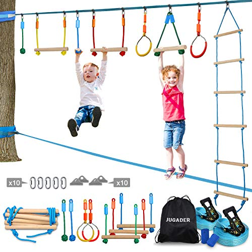 🥇 Jugader Ninja Warrior Obstacle Course for Kids – 50FT Ninja Slackline with Ladder