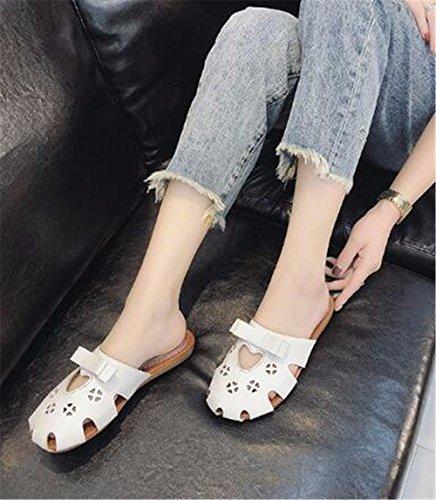 Blanco plano con zapatillas de Señora fondo verano de al libre patin GAOQIANGFENG aire qw7p1Pa1O