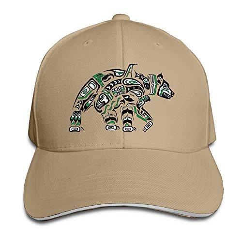 KS-QON BENG Native American Bear Art Unisex Fashion Adjustable Sandwich Baseball Cap/Hat (Wholesale Native American Art)