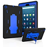 Fire HD 8 Case 2017, EpicGadget(TM) 2017 7th Generation Amazon Fire HD 8 Heavy Duty Hybrid Case Full Body Cover with Kickstand For Fire HD 8 Display + 1 Fire 8 HD Screen Protector (Black/Blue)
