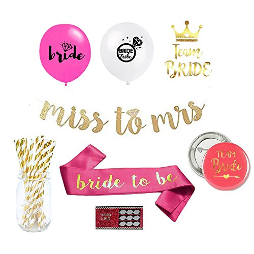 Bachelorette Party Decorations and Supplies Kit: Set includes - Pink and White Balloons for Decor, Bride to be Sash, Miss to Mrs. Gold Banner, Scratch off Funny Night Out Games, - Scratches Off Get Glasses