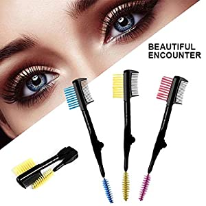 Digital Shoppy 1PCs Fashion Double Side Eyebrow Brush Eyelash Comb Mascara Separator Cosmetics Eyebrow Makeup Brushes…