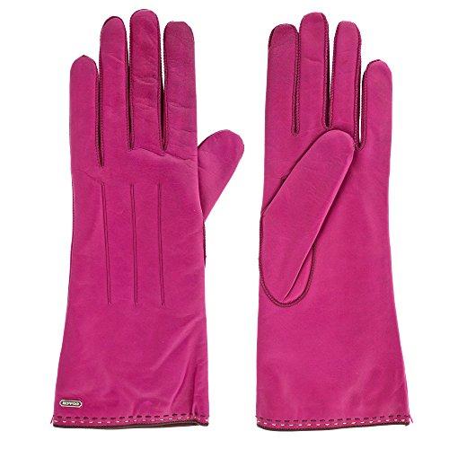 Coach Womens 83875 Fuchsia Purple Leather Cashmere Gloves (7.5)