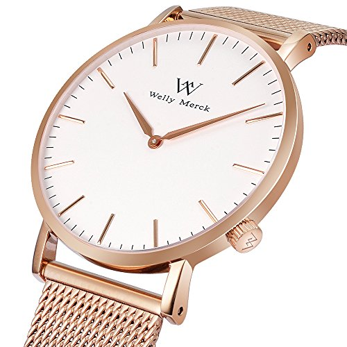 Welly Merck Swiss Movement Sapphire Crystal Women Luxury Watch Minimalist Ultra Thin Slim Analog Wrist Watch 18mm Rose Gold Stainless Steel Mesh Band in White 36mm 164ft Water Resistant by WM WELLY MERCK (Image #1)