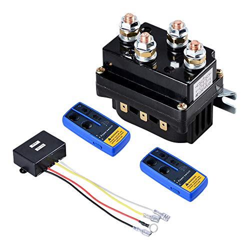 SODIAL Universal Winch Contactor Solenoid Relay Controller 12V 500A Dc Switch Boat Truck Thumb with Twin Remote Controls for ATV Utv 4X4 Vehicles 8000 Lbs-12000 Lbs Winches