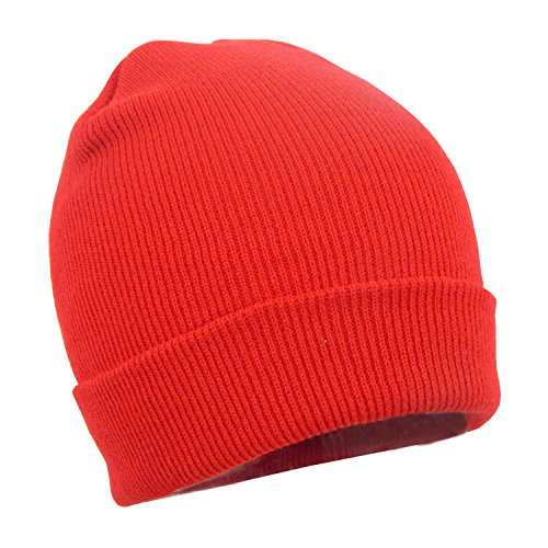 Red Stretchy Cuffed Beanie Hat, Chunky Winter Knit Skull Cap - Snug Fit