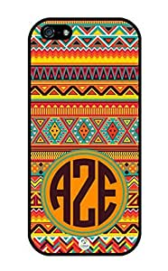 linJUN FENGiZERCASE Monogram Personalized Colorful Aztec Pattern RUBBER iphone 5 / iPhone 5S case - Fits iphone 5, iPhone 5S T-Mobile, AT&T, Sprint, Verizon and International (Black)